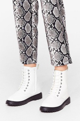Nasty Gal Womens Lace Make a Move Wide Fit Biker Boots - White