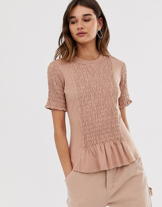 Asos plain ruched front tee-Green