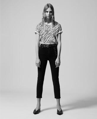 The Kooples Black & white zebra patterned cotton T-shirt