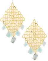 Devon Leigh Gold Grid Chalcedony & Quartz Earrings