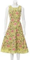 Oscar de la Renta Embroidered Midi Dress
