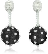 Oscar de la Renta Polka Dot Sequin Single Ball Clip-On Earrings