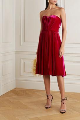Dolce & Gabbana - Strapless Ruched Velvet Dress - Purple
