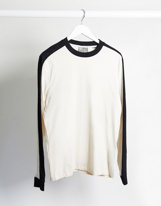 ASOS DESIGN organic long sleeve t-shirt with contrast shoulder panel in light gray