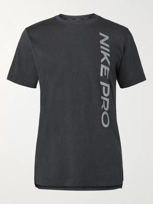 Nike Training - Printed Cotton-Blend Mesh and Jersey T-Shirt - Men - Black