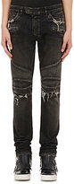 Balmain Men's Washed Skinny Biker Jeans-BLACK