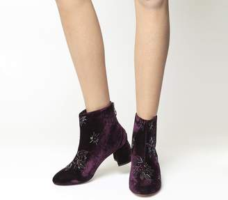 Office Arch Enemy Block Heel Boots Purple Velvet Multi Embellishment