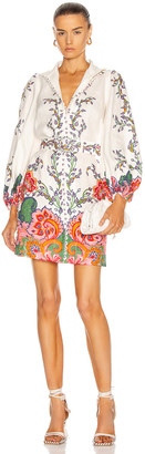 Zimmermann Lovestruck Buttoned Tunic Mini Dress in Natural Paisley Floral | FWRD