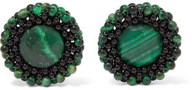 Rosantica Carramato Quartz And Onyx Clip Earrings - Green