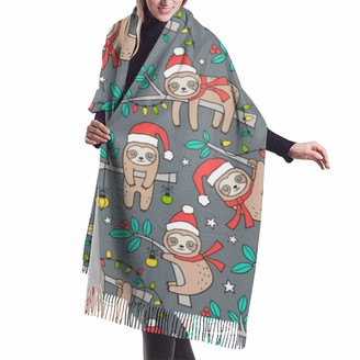 Asekngvo Christmas Holidays Winter Sloths Mint Leaves On Dark Grey Shawl Wrap Winter Warm Scarf Cape Large Soft Cozy Cashmere Scarf Wrap Womans Warm Shawl Stole