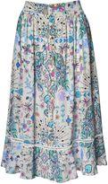 Matthew Williamson Light Grey Pampas Peacock Silk Midi Skirt