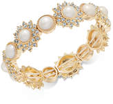Charter Club Gold-Tone Imitation Pearl & Crystal Stretch Bracelet, Created for Macy's