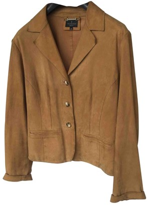 Trussardi Jeans Camel Suede Leather Jacket for Women