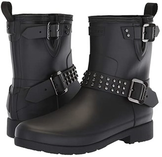 Hunter Refined Stud Biker Rain Boots (Black) Women's Rain Boots