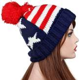 YiTeng Unisex Knitted Beanie Hat with USA Stars & Stripes Pattern