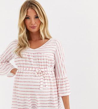Mama Licious Mamalicious stripe fluted sleeve t-shirt