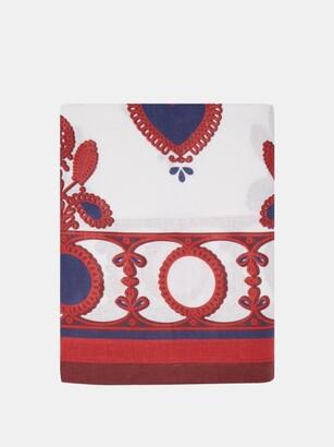 La DoubleJ Transylvania-print 350cm X 180cm Linen Tablecloth - Red Multi
