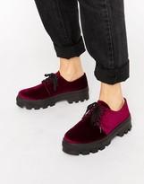 Asos MELANIE Lace Up Velvet Flat Shoes