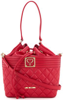 Love Moschino drawstring quilted shoulder bag - women - Polyurethane - One Size