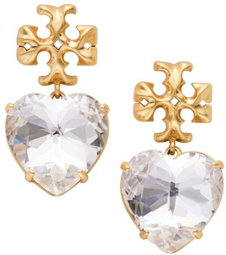 Tory Burch Goldtone Logo & Carved Heart Drop Earrings