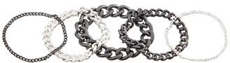 AllSaints Soft Chain Set Ring (Hematite/Warm Silver) Ring