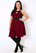 Yours Clothing Black & Wine Halterneck Skater Dress