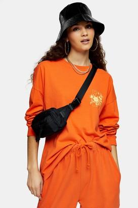 Topshop Womens Escapology Orange Long Sleeve Skater Top - Orange