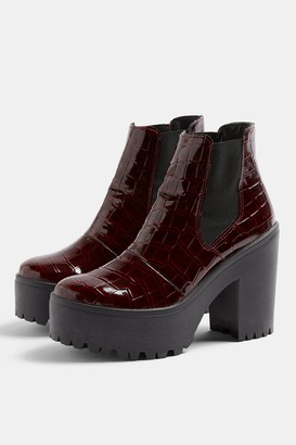 Topshop Womens Bria Burgundy Crocodile Unit Boots - Burgundy