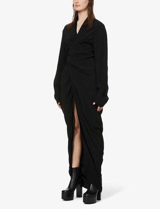 Rick Owens V-neck long-sleeved crepe maxi dress