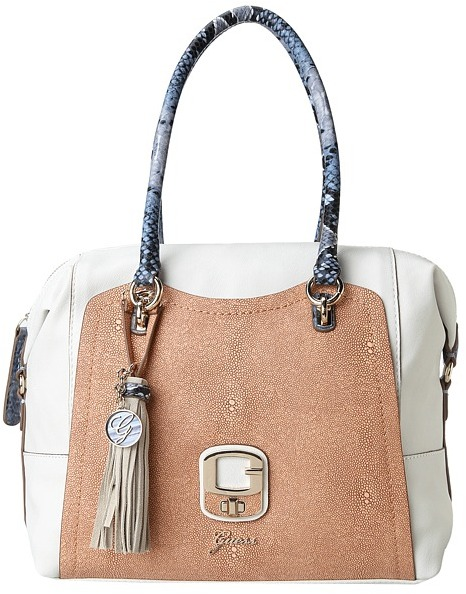 GUESS Azadeh Medium Box Satchel (Chalk Multi) - Bags and Luggage
