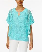 JM Collection Lace Keyhole Poncho, Only at Macy's