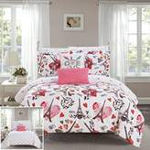 Chic Home Le Marias 9 Piece Reversible Comforter Paris is Love Inspired Printed Design Bed in a Bag-Sheet Set Decorative Pillows Shams Included Size