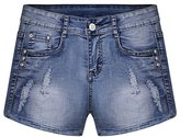 DLS Womens Low Waist Tassel Hole Denim Shorts Junior Mini Jeans Hot Pants