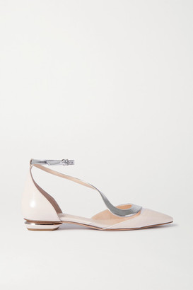 Nicholas Kirkwood S Ballerina Two-tone Patent-leather And Pvc Point-toe Flats - Baby pink