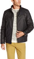 Vince Camuto Men's Quilted Down Moto Jacket Reversible To Coated Cotton