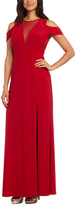 R & M Richards Red Semisheer Side-Slit Gown - Plus Too