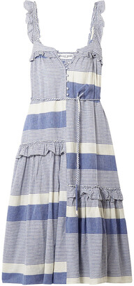 Apiece Apart Lypie Ruffle-trimmed Striped Cotton-gauze Maxi Dress