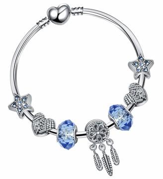 Dream Catcher Bracelet Blue Birthstone charm Dream Catcher charm Silver Bangle Glass Beads Silver Bracelet for Women Gift FREE Giftbox by SheClub (18CM)
