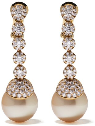 Yoko London 18kt yellow gold Aurelia golden south sea pearl and diamond earrings