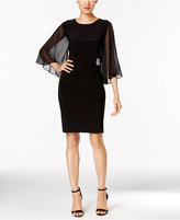 MSK Illusion Angel-Sleeve Embellished Dress