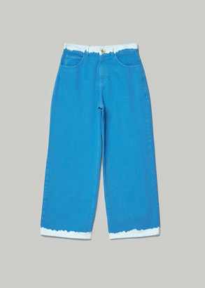 Marni Women's Overdyed Straight Leg Denim Pants in Neptune Size 38