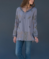 Paparazzi Gray Geometric Embroidered Tie-Neck Button-Front Tunic