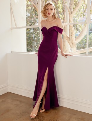 Forever New Sara Off Shoulder Gown - Red Shiraz - 18
