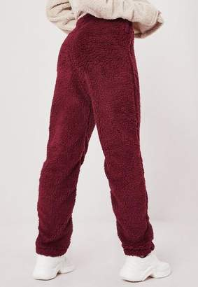 Missguided Tall Wine Red Borg Teddy Joggers