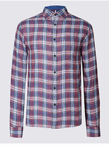 Blue Harbour Pure Linen Checked Shirt With Pocket