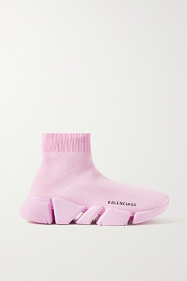 Balenciaga Speed 2.0 Stretch-knit High-top Sneakers - Baby pink