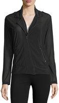 Koral Activewear Mesh Asymmetric-Front Sport Moto Jacket, Black