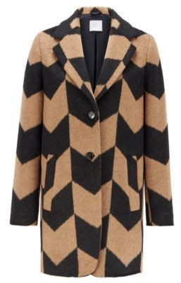 HUGO BOSS Relaxed-fit coat in textured fabric with chevron pattern