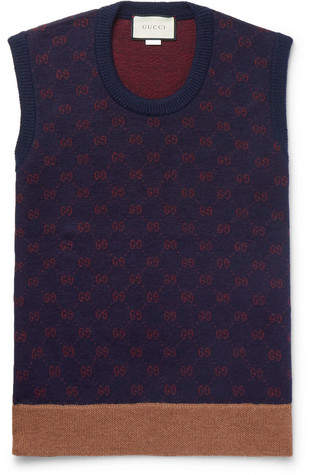 Gucci Logo-Jacquard Wool And Alpaca-Blend Sweater Vest