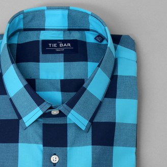 Tie Bar Buffalo Check Royal Blue Dress Shirt